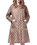 Gabardina impermeable de lunares para mujer, chubasquero, poncho, abrigo impermeable con puntos, caqui