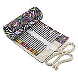 Sac à 36 Crayons Vintage Rouleau de Stylo Plumier en Toile Multicolore Pochette Trousse de Crayon de Couleur Rideau de Pinceau Multi-usage Cadeau d'Anniversaire Fête Noël Rentrée pour Fille Femme
