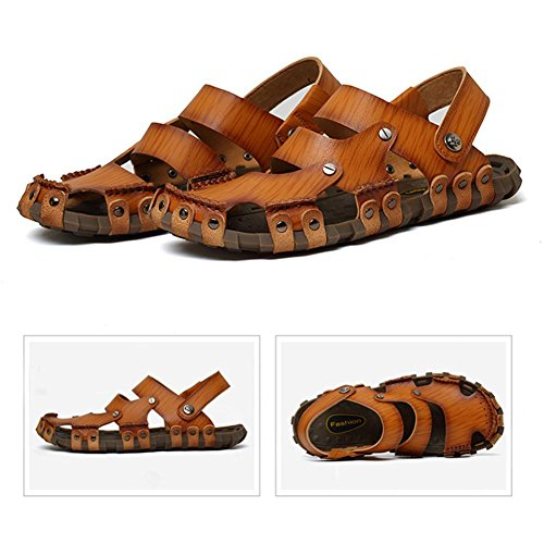 Sandali di cuoio degli uomini puramente scarpe di acqua fatta a mano durevole ma molle modo e comodo light brown