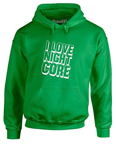 I Love Nightcore, Adult's Gedruckt Hoody - Pullover - Grün/Weiß M = 96-101 cm (Miku Grün)