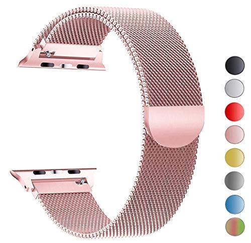 MouKou Ersatz Armbänder für Apple Watch Series 4 40mm und Series 3/2/1 38mm Rosa Milanese Mesh Loop mit Magnetverschluss Edelstahl Armband