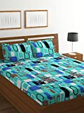 Bombay Dyeing Amber 160 TC Microfibre Double Bedsheet with 2 Pillow Covers - Green