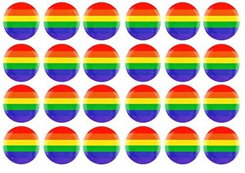 Gay Pride Zubehör - HENBRANDT 24 x Erwachsene Regenbogen Button