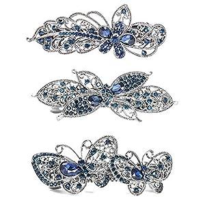 3 Stück Kristall Strass Blume Schmetterling Haarspangen Französische Vintage Frühling Haarspangen Haarclip Eleganter Hochzeit Haarschmuck für Damen