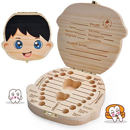 LATTCURE Zahnbox Holz Milchzähne Box, Milchzahndose aus Holz zur Deutsch Wort Milchzahnbox für Jungen Mädchen Souvenir Box Weihnachten Geschenk (Jungen) -