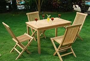 ensemble de jardin 4 place avec table en teck 120x70 cm