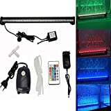 GreenSun LED Lighting 46cm RGB LED Blase Bubble Wasserdicht 5050 SMD Luftblase Aquarium Beleuchtung Unterwasser Deko Lampe mit 5W Air Pump Sauerstoffpumpe