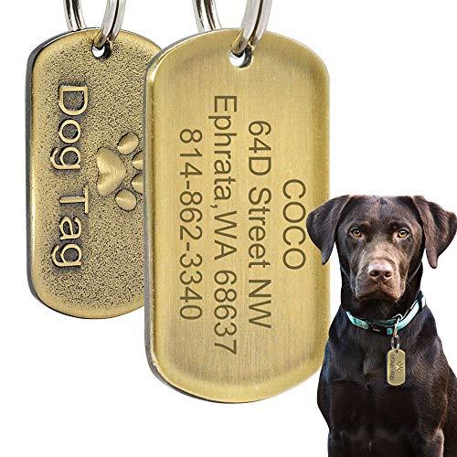 Beirui Médaille d'identification Militaire en Acier Inoxydable pour Chien avec nom gravé + numéro + adresse - Cuivre en Relief pour Chiens de Taille Moyenne et Grande Taille