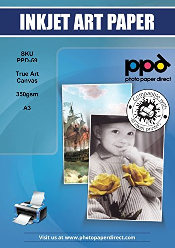 PPD DIN A3 Inkjet 340g Canvas Kunstleinwand bedruckbar, DIN A3 x 10 Blatt PPD-59-10