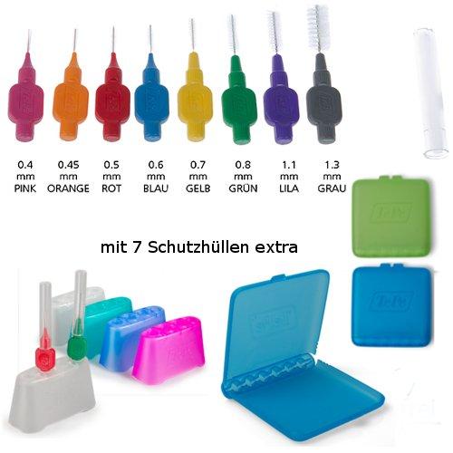 TePe Interdentalbürsten GROSSES SET mit Reiseetui/Hygienebox & Badständer (gemischt)