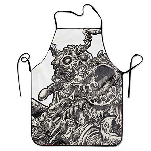 üchenschürze Now Designs Basic Dacron Kitchen 's Apron Dark Creature Horror Creepy Spooky Scary Halloween Print Pink Cooking Grilling Apron for Women Men Unisex Kids Waitress Chef ()