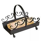 Cesta para leña, 31,5 cm, color negro