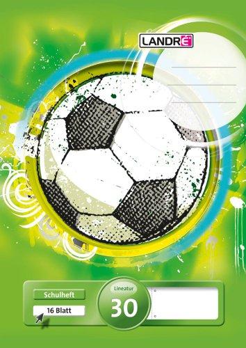 LANDRE 100050044 Schulheft 10er Pack A4 16 Blatt Lineatur 30 - blanko, perforiert & gelocht 3 Motive sortiert