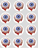 12 Blut Augen Halloween reispapier fee / becher kuchen 40mm cake topper vorschnitt kuchen deko