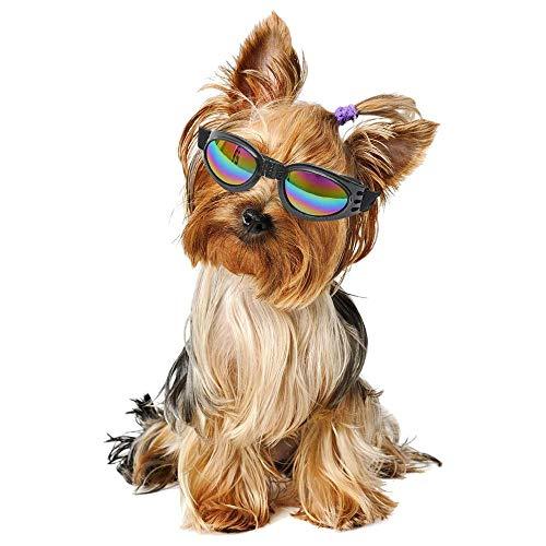 KOBWA Kleine Hunde Sonnenbrille, Hund Schwimmbrille für UV-Schutz Sonnenbrille Winddicht mit Verstellbarem Band für Puppy Doggy Katze
