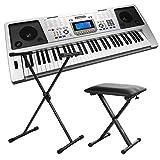 Funkey 61 Plus Keyboard inkl. höhenverstellbarem Ständer und Sitzbank (61 Tasten, Anschlagdynamik, 100 Klangfarben, 100 Rhythmen)
