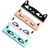 Hosaire 4Pcs/lot Règle en Bois Kawaii Motif de Chat Ruler Règle de Couture Fournitures Scolaires Idéal pour Enfant Mélange de couleurs