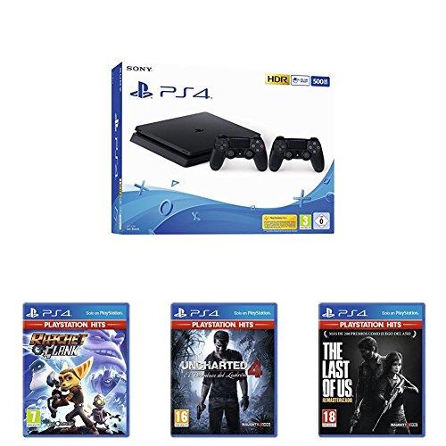 Playstation 4 (PS4) - Consola 500 Gb + 2 Mandos Dual Shock 4 (Edición Exclusiva Amazon) + Uncharted 4: El Desenlace Del Ladrón Hits + The Last of Us Hits + Ratchet & Clank Hits