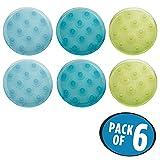 mDesign Juego de alfombrillas de baño - redondas y de colores - alegría en el baño - alfombras antideslizantes - 6 unidades en verde, azul y azul claro