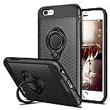 iPhone 6S Plus Hülle, Coolden® Premium Handyhülle mit Ring Fingerhalterung 360 Grad Drehbarer Ständer Anti-Scratch 3D Muster Cover Dual Layer Bumper Stoßfest Schutzhülle für iPhone 6s Plus(Schwarz)
