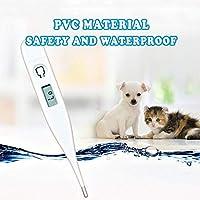Aolvo - Termómetro digital para perros y gatos, fácil de precisar y rápido 15 segundos de lectura de la temperatura corporal, pantalla digital transparente resistente al agua, axilar axilar, lectura rápida para mascotas