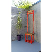 Coat stand finished in Vermillion Red with seat & shoe storage Narrow hallway coat rack bijou coat rack ideal for porch industrial chic