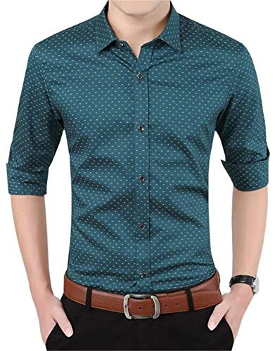AIYINO Mens Slim Fit Long Sleeve Dot Printing Shirt Turn-Down Collar Casual Dress Button Down Blazer Business Suit Thin Shirts(Large, 17-Green)