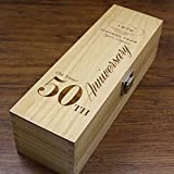 Unique Personalised 50th Wedding Anniversary Gift - Luxury Wooden Wine or Champagne Box Varnished and Satin Lined [HING12]