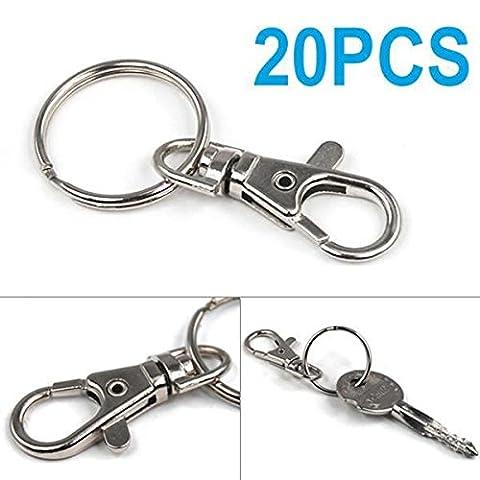 Tinxs Lot de 20 attaches pivotantes pour porte-clés Petit modèle - Piombo Portachiavi