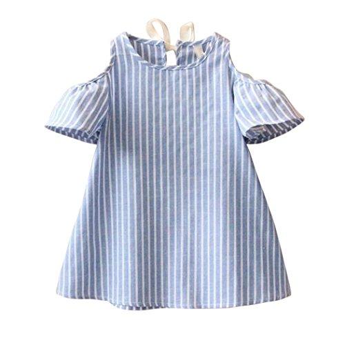 der ein PC Prinzessin Kurzarm Gestreift Kleid Kurzarme O-kragen Baumwolle Gestreift Kleidung für Mädchen 5-14 Jahre (Blau, 13 Jahre) (Mädchen 7 14 Kleider)