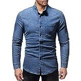 Übergröße Herren Hemd Retro Denim Stehkragen Langarm Slim Fit Jeanshemd Männer Herbst und Winter Casual Denim Hemd Shirt Bluse Oberteile (M, Blue)