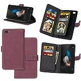 Huawei P8 Lite Hülle, Huawei P8 Lite 2016 Handyhüle, Alfort Retro Einfarbige Farbe PU Lederhülle Tasche Wallet Case Cover Schutzhülle für Huawei P8 Lite (2016/2015) Smartphone(Rose rot)