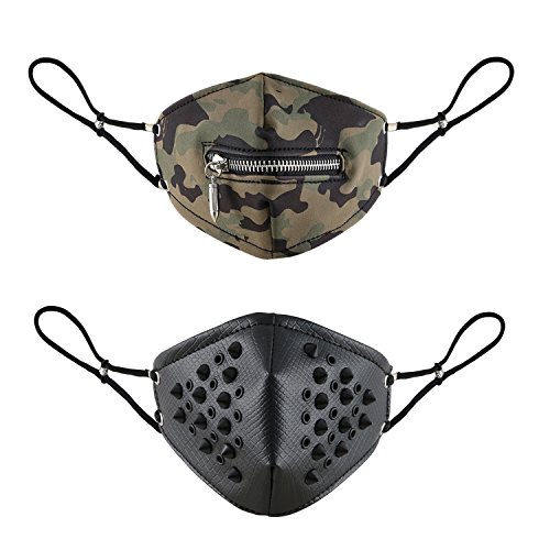 Aroncent Máscaras Ajustable para Ciclismo Bicicleta Deporte Filtro Profesional de Aire Contaminantes Carbón Antipolvo Transpirable Decorada de Remaches Cremallera, Camuflaje Negro – 2PCS