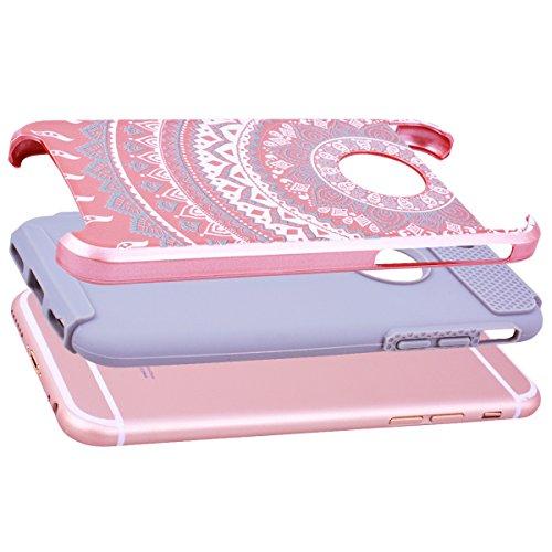 GrandEver Coque iPhone 6s Plus / iPhone 6 Plus [ 2 en 1 ] Mandala Motif Design Silicone Souple Bumper et PC Dur Rigide Couche Double Backcover Etui Housse Case pour iPhone 6 Plus/6s Plus --- Vert Blan Rose Gris
