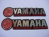 3D red / chrome YAMAHA stickers decals Aufkleber - set of 2 pieces