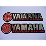 3D red / chrome YAMAHA stickers decals - set of 2 pieces