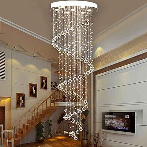 DG.99® Escalier conduit Lustre long Simplicité moderne Double escalier Lampes Salon spirale créatif Lustres en cristal , 7