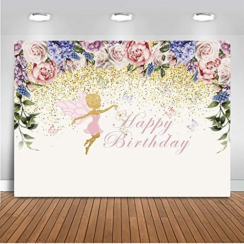 Mehofoto Dancing Girl Theme Happy Birthday Kulisse 7x5ft Vinyl Birthday Party Banner für Mädchen Blumen Fotografie Hintergrund 1. Geburtstag Foto Kulissen