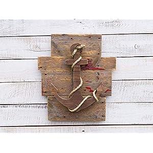 Wandhaken Bad Anker Einzelstück im Vintagestil aus Altholz