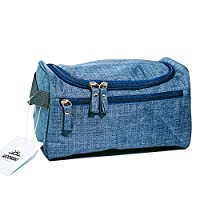 Toiletry Bag for Men, Women & Children. Perfect size for Organising your Travel Toiletries, Wash Bag for the Gym or Ladies Make-up bag. With Hanging Hook, Multi Pockets & Carry Handle - Blue