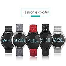 Reloj de pulsera inteligente Fancy Cherry®, modelo M7, con Bluetooth 4.0, monitor de frecuencia cardíaca, podómetro y controlador de ejercicio para teléfonos inteligentes con IOS 8.0 y Android 4.3, hombre, Black, Leather