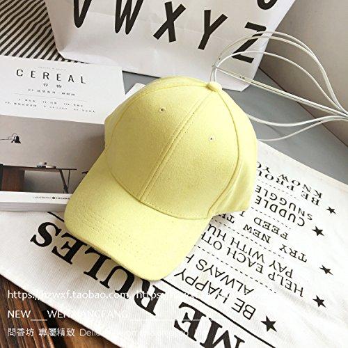 ZHGI Piegare un colore solido suede hip hop cappello da baseball,giallo limone