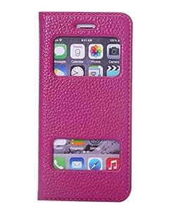 iPhone 6 coque Flip cover View case Coque housse etui PREMIUM Cuir Veritable pour iPhone 6 pochette flip cover de protection accessoires(Luxe Cuir Veritable,violet Elegant)