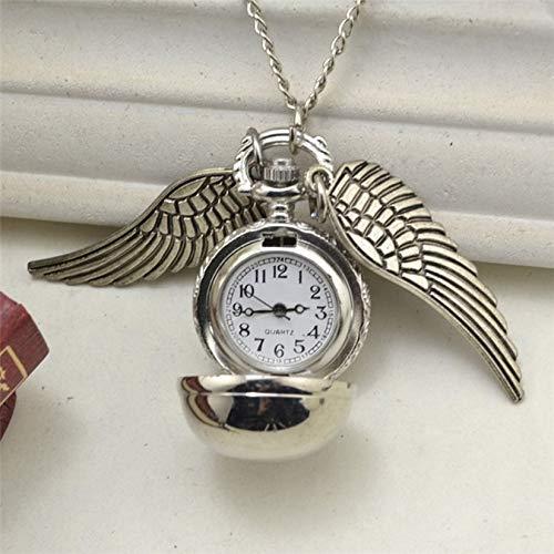 ZengBuks Elegante Schnatz Quarzuhr charmante Vintage Engel Flügel Taschenuhr Anhänger Uhr Halskette Kette für Männer Frauen - Silber (Taschenuhr Halskette Flügel)