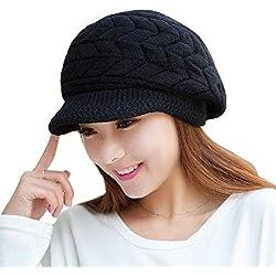 Cappelli,SW Moda Donna Cappello Inverno Ragazza Cappelli lavorati a maglia Pelliccia di coniglio Tappo (Nero)