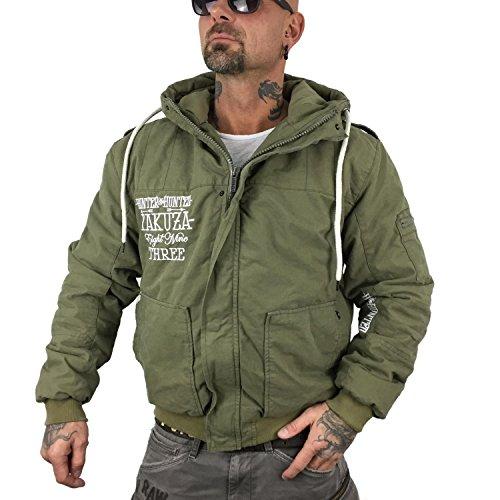 Yakuza - Blouson - Veste damassée - Uni - À Capuche - Manches Longues - Homme dusky green