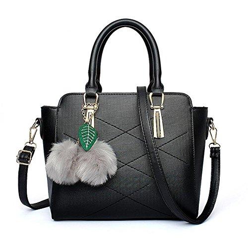 HQYSS Damen-handtaschen Frauen-große Kapazitäts-PU-lederne Schulter-Kurier-Handtasche Einfache wilde prägeartige Einkaufstasche black