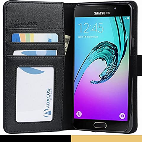 Coque Galaxy A5 (2016), Abacus24-7® Etui à Rabat en Cuir, Housse de Protection pour Samsung Galaxy A5 - A510F, Format Portefeuille avec Emplacements Carte, Fonction Support et Languette Aimantée - Noir