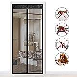 NBWS - Moskitonetzes Fliegengitter Magnet Klettband Insektenschutz Fliegen Vorhang,für Balkontür/Wohnzimmer/Terrassentür(Schwarz)