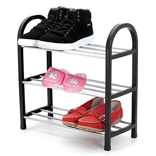 Schuhregal mit 3Etagen, 6Paar Schuhe Ständer Organizer Ablage platzsparend Einfache Montage (Größe: 41,9x 19,1x 43,7cm)